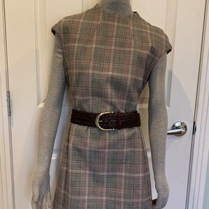Theory Plaid Mod Wool Dress Sz.8 NWOT